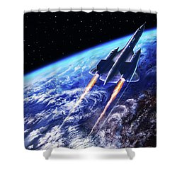 Scraping Outer Spheres Shower Curtain