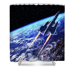 Scraping Outer Spheres Shower Curtain by Dave Luebbert