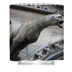 Shower Curtain featuring the photograph Screaming Griffon Notre Dame Paris by Christopher Kirby