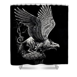 Shower Curtain featuring the drawing Screaming Griffon by Stanley Morrison