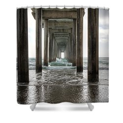 Scripps Pier Shower Curtain by Eddie Yerkish