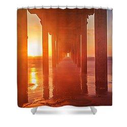 Scripps Pier Sunset Shower Curtain