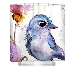 Shower Curtain featuring the painting Scrub Jay In The Wildflowers by Dawn Derman