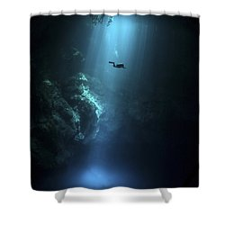 Scuba Diver Descends Into The Pit Shower Curtain by Karen Doody