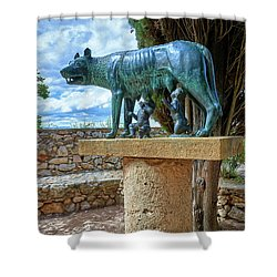 Shower Curtain featuring the photograph Sculpture Of The Capitoline Wolf With Romulus And Remus by Eduardo Jose Accorinti