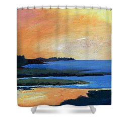 Shower Curtain featuring the painting Sea And Sky by Gary Coleman