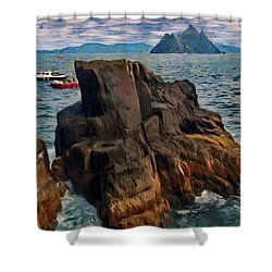 Shower Curtain featuring the painting Sea And Stone by Jeff Kolker