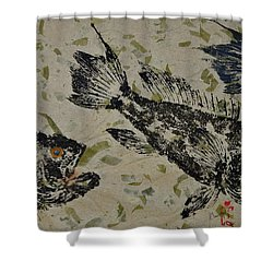 Sea Bass School On Olive Mango Paper  Shower Curtain