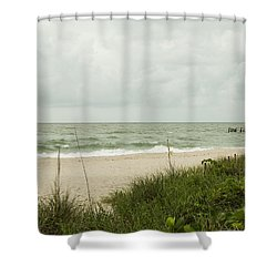 Sea Birds Awaiting The Rain Shower Curtain by Christopher L Thomley