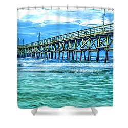 Sea Blue Cherry Grove Pier Shower Curtain