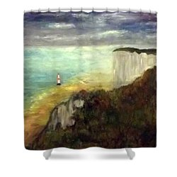 Sea, Cliffs, Beach And Lighthouse Shower Curtain
