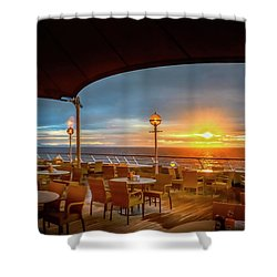 Shower Curtain featuring the photograph Sea Cruise Sunrise by John Poon