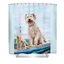 Sea Dog And Cat Shower Curtain by Jane Schnetlage