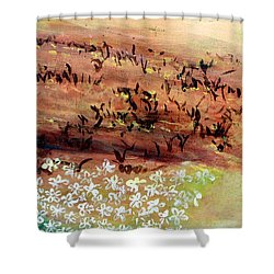 Shower Curtain featuring the painting Sea Earth  by Winsome Gunning
