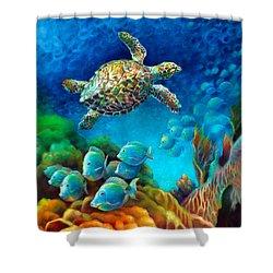 Sea Escape IIi - Gemstone Hawksbill Turtle Shower Curtain