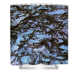Sea Foam Black And Blue Shower Curtain
