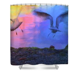 Shower Curtain featuring the photograph Sea Gull Abstract by Jan Amiss Photography
