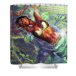 Shower Curtain featuring the digital art Sea Lioness by Baroquen Krafts