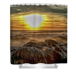Sea Mist Sunset Shower Curtain