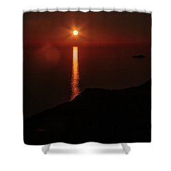 Sea, Mountains, Sunset, Sun Sinking Over The Horizon Shower Curtain