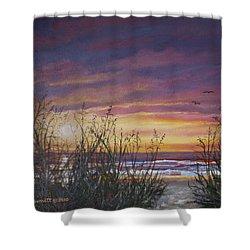 Sea Oat Sunrise # 3 Shower Curtain