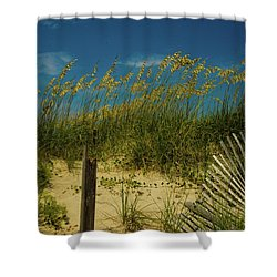 Sea Oats And Sand Fence Shower Curtain by John Harding