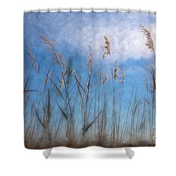 Sea Oats And Sky On Outer Banks Ap Shower Curtain