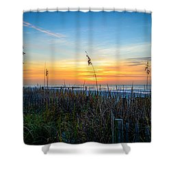 Sea Oats Sunrise Shower Curtain by David Smith