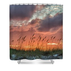 Shower Curtain featuring the digital art Sea Oats Sunset by Phil Mancuso