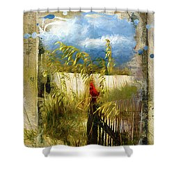 Sea Oats With Cardinal Shower Curtain