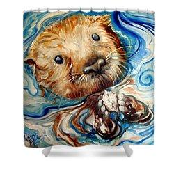 Sea Otter Swim Shower Curtain by Marcia Baldwin