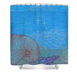 Shower Curtain featuring the drawing Sea Shore by Kim Sy Ok
