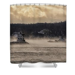 Sea Smoke At Rockland Breakwater Light Shower Curtain