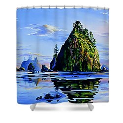 Shower Curtain featuring the painting Sea Stack Serenity by Hanne Lore Koehler