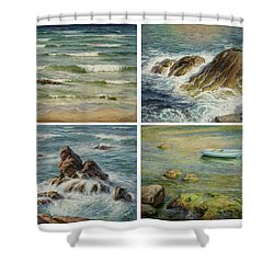 Sea Symphony. Part 1,2,3,4. Shower Curtain