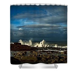 Shower Curtain featuring the photograph Sea The Sky And Rocks by Joseph Hollingsworth