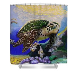Shower Curtain featuring the painting Sea Turtle Acrylic Painting by Thomas J Herring