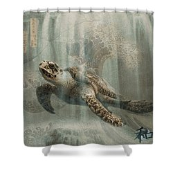 Sea Turtle Great Wave Shower Curtain by Karla Beatty