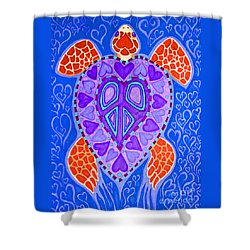 Sea Turtle Hearts 2 Shower Curtain