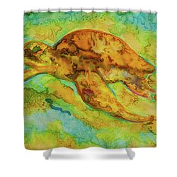 Sea Turtle Shower Curtain by Jacqueline Phillips-Weatherly