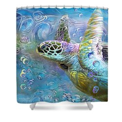 Shower Curtain featuring the mixed media Sea Turtle - Spirit Of Serendipity by Carol Cavalaris