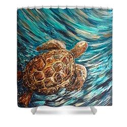 Sea Turtle Wave Guam Shower Curtain