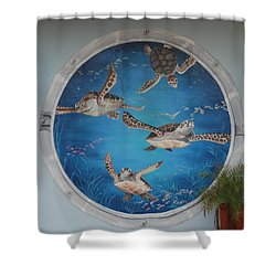 Sea Turtles Shower Curtain by Rob Hans