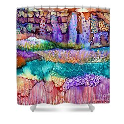 Sea Wall Shower Curtain by Alene Sirott-Cope