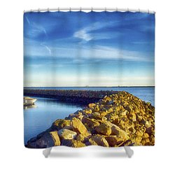 Sea Wall Shower Curtain by Joseph Hollingsworth