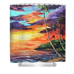 Shower Curtain featuring the painting Sea Wall Lahaina by Darice Machel McGuire