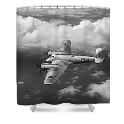 Shower Curtain featuring the photograph Seac Beaufighter Bw Version by Gary Eason