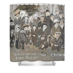 Shower Curtain featuring the painting Seacombe Picnic by Judith Desrosiers
