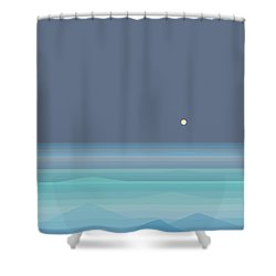 Seafoam Moonrise Shower Curtain