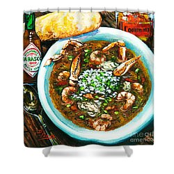 Seafood Gumbo Shower Curtain by Dianne Parks